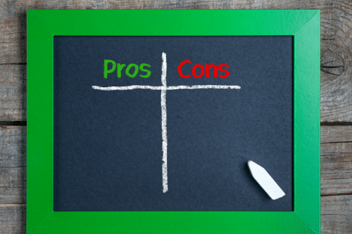 pros & cons on chalkboard